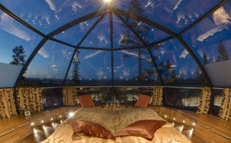 Sky view from the bed at the Levi Igloos