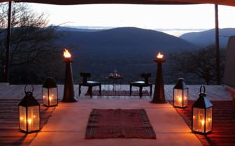 Candles lining the Viewing deck at Saruni Samburu