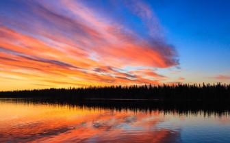 Sunset over Winterlake Lodge