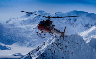 Helicopter over Tordrillo Mountains