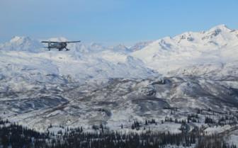 Plane over the Tordrillo Mountains