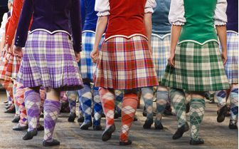 Scottish highland dancers wearing the traditional kilt