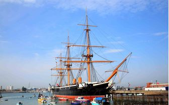 An image of the HMS Warrior in Portsmouth Dockyard