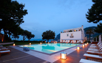 Pool in the evening at JK Place Capri, luxury hotel in Italy