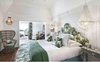 villa marie bungalow room with palm decor