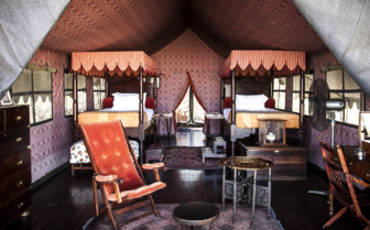 The twin guest tent at Jacks Camp, luxury resort in Botswana
