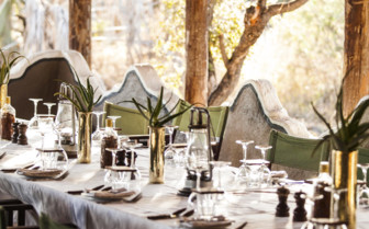 Dining at Camp Kalahari, luxury camp in Botswana