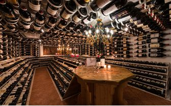The big bottle wine cellar at The Arlberg Hospiz, Austria