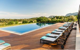 Luxury hotel pool view