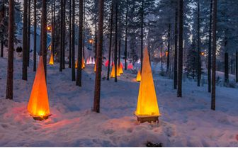 Lanterns in snowy woods