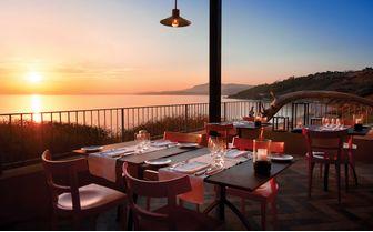 Verdura Resort terrace at sunset