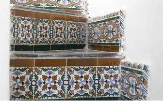 Closeup of Moroccan tiles at Nord-Pinus