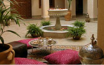 Riad Kniza courtyard and kushions
