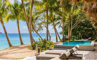 Beachfront villa beach access