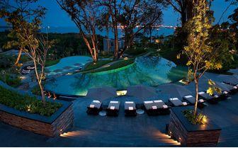 Pool at Capella at night