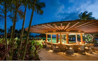 Conrad Bora Bora Nui Tarava pool bar over sunset