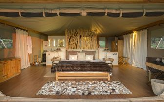 Inside a luxury tent at Louisaba