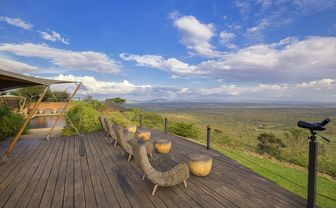 Desk and view at Louisaba tented camp