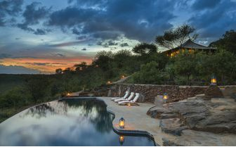 Sunset at a private infinity pool