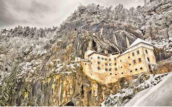 Predjama Castle in winter