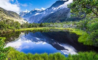 Mountain and lake in New Zealand