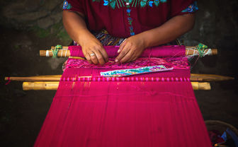 Woman with textiles