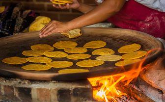 Cooking tortillas in Guatemala
