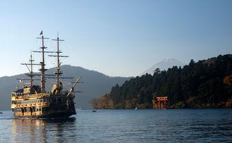 A ship on Lake Ashi