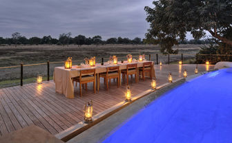 Dinner setup by the pool