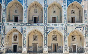 Blue and white archways