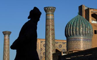 Silhouette of man with domes