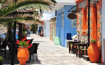 Street along the beach in Mitros