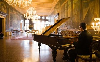 The hotel lounge with piano