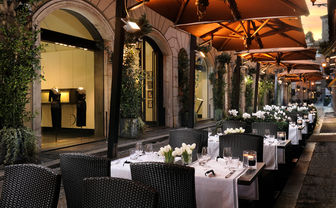 The outside dining area of the hotel