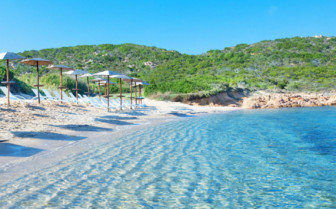 The private beach at Hotel Cervo, luxury hotel in Sardinia, Italy