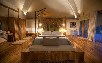 Chena Huts bedroom night