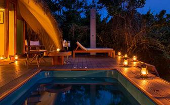 Chena Huts plunge pool night