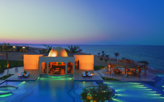 Picture of the pool at night at the Oberoi Sahl Hasheesh