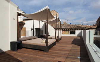 Rooftop lounge area at Puro hotel