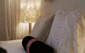 Bed detail at luxury bedroom
