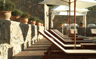 Sunbeds on the terrace at Son Brull