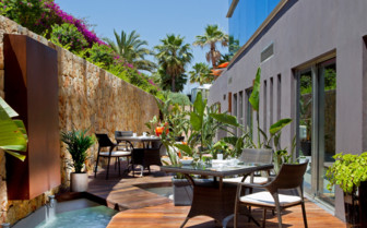 The terrace at Hotel Aguas de Ibiza, luxury hotel in Spain