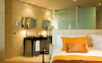 Luxury bedroom at Hotel Aguas de Ibiza