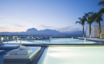 Pool and lounge terrace at SHA Wellness hotel, luxury hotel in Spain