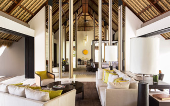 Lounge area at Cheval Blanc Randheli, luxury hotel in the Maldives