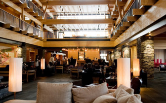 The lobby area at Copperhill Mountain Lodge