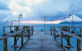 Picture of the jetty at Dawn, Soneva Fushi