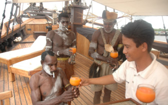Picture of Traditionally Dressed Locals aboard Silolona
