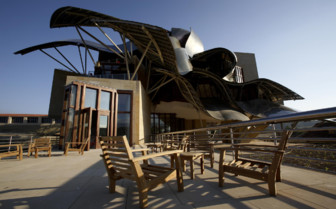 The terrace at Hotel Marques de Riscal