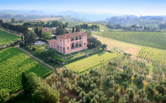 Aerial view of Villa Mangiacane, luxury hotel in Italy